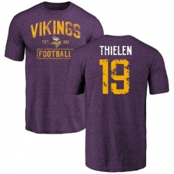 Men's Adam Thielen Minnesota Vikings Purple Distressed Name & Number Tri-Blend T-Shirt