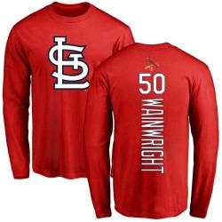 Men's Adam Wainwright St. Louis Cardinals Backer Long Sleeve T-Shirt - Red