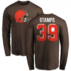 Men's A.J. Stamps Cleveland Browns Name & Number Logo Long Sleeve T-Shirt - Brown