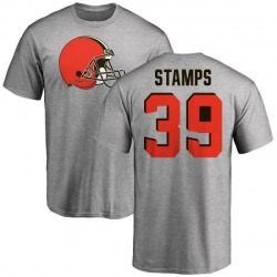 Men's A.J. Stamps Cleveland Browns Name & Number Logo T-Shirt - Ash