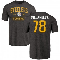 Men's Alejandro Villanueva Pittsburgh Steelers Black Distressed Name & Number Tri-Blend T-Shirt