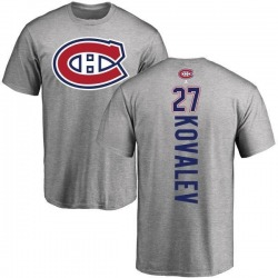 Men's Alexei Kovalev Montreal Canadiens Backer T-Shirt - Ash