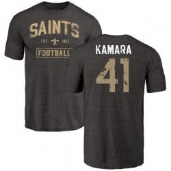 Men's Alvin Kamara New Orleans Saints Black Distressed Name & Number Tri-Blend T-Shirt