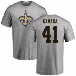 Men's Alvin Kamara New Orleans Saints Name & Number Logo T-Shirt - Ash