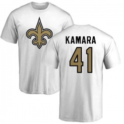 Men's Alvin Kamara New Orleans Saints Name & Number Logo T-Shirt - White