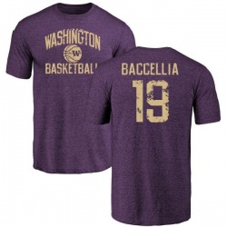 Men's Andre Baccellia Washington Huskies Distressed Basketball Tri-Blend T-Shirt - Purple