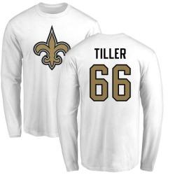 Men's Andrew Tiller New Orleans Saints Name & Number Logo Long Sleeve T-Shirt - White