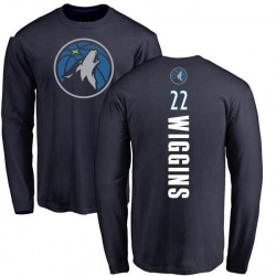 Men's Andrew Wiggins Minnesota Timberwolves Navy Backer Long Sleeve T-Shirt