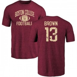 Men's Anthony Brown Boston College Eagles Distressed Football Tri-Blend T-Shirt - Maroon