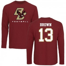 Men's Anthony Brown Boston College Eagles Football Long Sleeve T-Shirt - Maroon