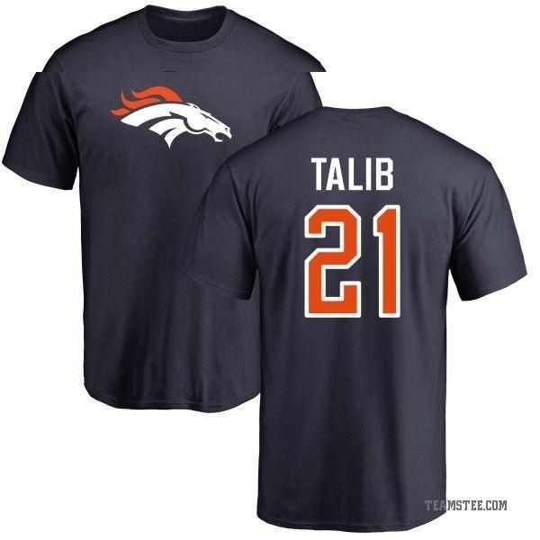 new style ca37b c5792 Men's Aqib Talib Denver Broncos Name & Number Logo T-Shirt - Navy - Teams  Tee