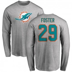 Men's Arian Foster Miami Dolphins Name & Number Logo Long Sleeve T-Shirt - Ash