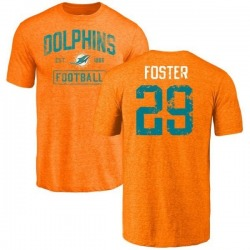 Men's Arian Foster Miami Dolphins Orange Distressed Name & Number Tri-Blend T-Shirt