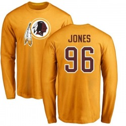 Men's Arthur Jones Washington Redskins Name & Number Logo Long Sleeve T-Shirt - Gold