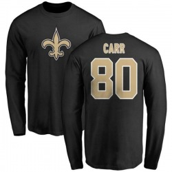Men's Austin Carr New Orleans Saints Name & Number Logo Long Sleeve T-Shirt - Black