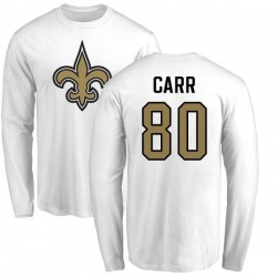 Men's Austin Carr New Orleans Saints Name & Number Logo Long Sleeve T-Shirt - White