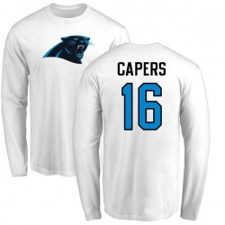 Men's Avius Capers Carolina Panthers Name & Number Logo Long Sleeve T-Shirt - White
