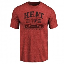 Men's Bam Adebayo Miami Heat Cardinal Baseline Tri-Blend T-Shirt