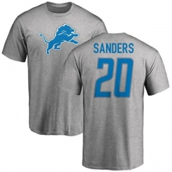 Men's Barry Sanders Detroit Lions Name & Number Logo T-Shirt - Ash