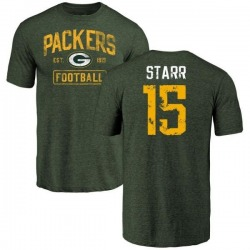 Men's Bart Starr Green Bay Packers Green Distressed Name & Number Tri-Blend T-Shirt