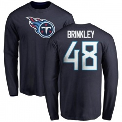Men's Beau Brinkley Tennessee Titans Name & Number Logo Long Sleeve T-Shirt - Navy