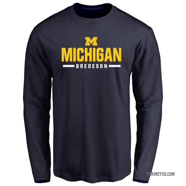 Wolverines Bredeson Tee - Wordmark Ben Navy Michigan Men's Sport Teams T-shirt Long Sleeve