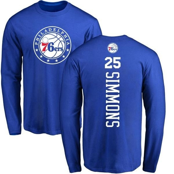 quality design 6c75e 06f46 Men's Ben Simmons Philadelphia 76ers Royal Backer Long Sleeve T-Shirt -  Teams Tee