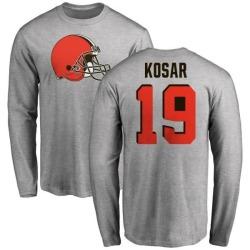 Men's Bernie Kosar Cleveland Browns Name & Number Logo Long Sleeve T-Shirt - Ash