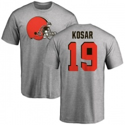 Men's Bernie Kosar Cleveland Browns Name & Number Logo T-Shirt - Ash