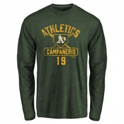 Men's Bert Campaneris Oakland Athletics Base Runner Tri-Blend Long Sleeve T-Shirt - Green