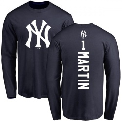 Men's Billy Martin New York Yankees Backer Long Sleeve T-Shirt - Navy