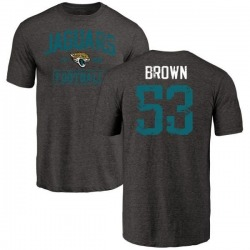 Men's Blair Brown Jacksonville Jaguars Black Distressed Name & Number Tri-Blend T-Shirt