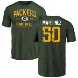 Men's Blake Martinez Green Bay Packers Green Distressed Name & Number Tri-Blend T-Shirt