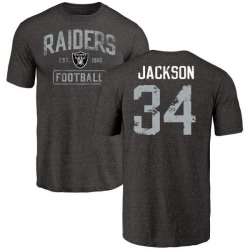 Men's Bo Jackson Oakland Raiders Black Distressed Name & Number Tri-Blend T-Shirt