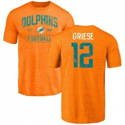 Men's Bob Griese Miami Dolphins Orange Distressed Name & Number Tri-Blend T-Shirt