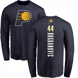 Men's Bojan Bogdanovic Indiana Pacers Navy Backer Long Sleeve T-Shirt