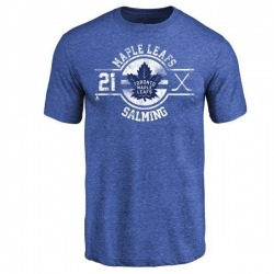 Men's Borje Salming Toronto Maple Leafs Insignia Tri-Blend T-Shirt - Royal