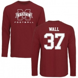 Men's Brad Wall Mississippi State Bulldogs Football Long Sleeve T-Shirt - Maroon