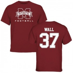 Men's Brad Wall Mississippi State Bulldogs Football T-Shirt - Maroon
