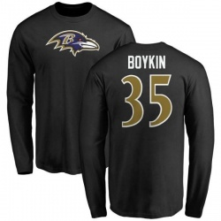 Men's Brandon Boykin Baltimore Ravens Name & Number Logo Long Sleeve T-Shirt - Black