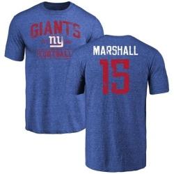 Men's Brandon Marshall New York Giants Distressed Name & Number Tri-Blend T-Shirt - Royal