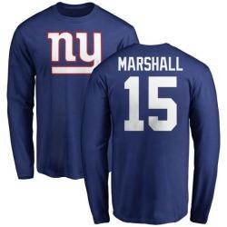 Men's Brandon Marshall New York Giants Name & Number Logo Long Sleeve T-Shirt - Royal