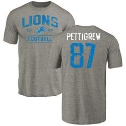 Men's Brandon Pettigrew Detroit Lions Gray Distressed Name & Number Tri-Blend T-Shirt