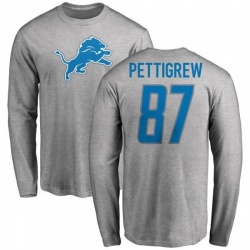 Men's Brandon Pettigrew Detroit Lions Name & Number Logo Long Sleeve T-Shirt - Ash