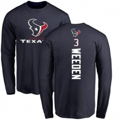Men's Brandon Weeden Houston Texans Backer Long Sleeve T-Shirt - Navy