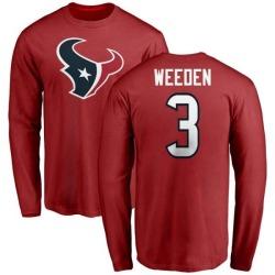 Men's Brandon Weeden Houston Texans Name & Number Logo Long Sleeve T-Shirt - Red