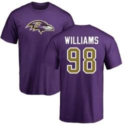 Men's Brandon Williams Baltimore Ravens Name & Number Logo T-Shirt - Purple