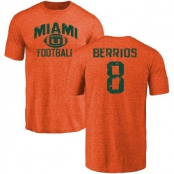 Men's Braxton Berrios Miami Hurricanes Distressed Football Tri-Blend T-Shirt - Orange