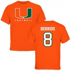 Men's Braxton Berrios Miami Hurricanes Football T-Shirt - Orange