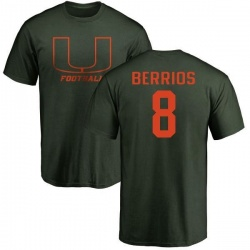 Men's Braxton Berrios Miami Hurricanes One Color T-Shirt - Green